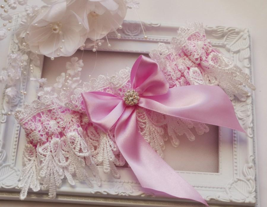 Wedding - Pink Wedding Garter Bridal Garter Lingerie Garters Bridal Garters Venice Wedding Lace pink garter set bridal accessories ivory wedding garte