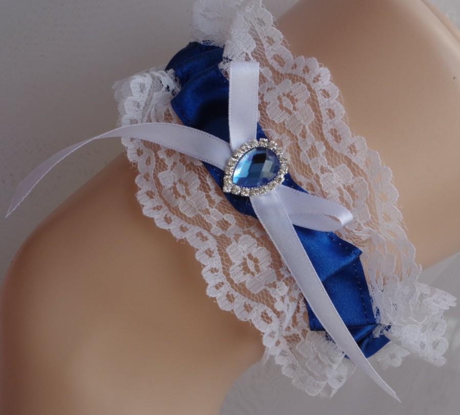 Hochzeit - Navy Blue Garter Navy Blue Wedding Ivory Lace Garter Rhinestone Garter Wedding Garter Bridal Garter Keepsake Garter Vintage Style Garter