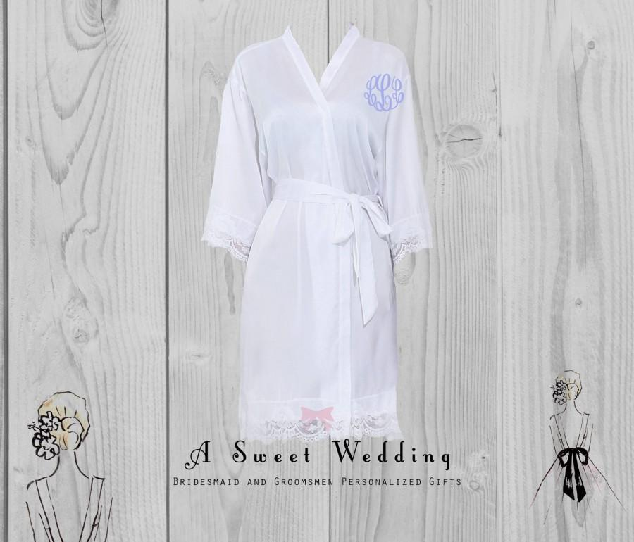 Hochzeit - Bride's Robe/ Lace Trim Bridal Robe/ Getting Ready Robe With Monogram/ Wedding Robe
