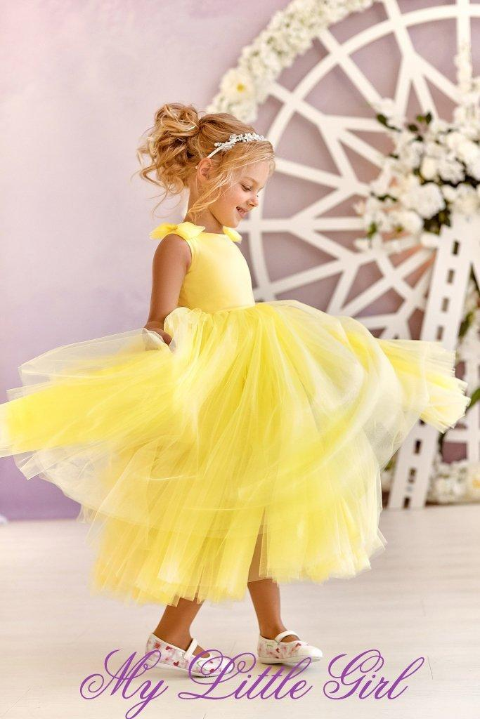 Wedding - Unique  Flowers Girl Dress, Birthday Girl Dress, Yellow Flowers Girl Dress, Tutu Flowers Girl Dress, Tulle Flowers Girl Dress, Wedding