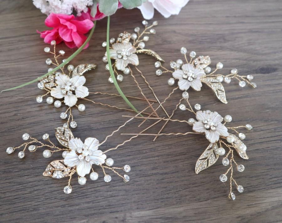 Wedding - Bridesmaid Hair Accessories Rose Gold Wedding HaIr Accessories Bridal Comb Rose Gold Hair Comb Bridal Headpiece Bridesmaid Hair Pins