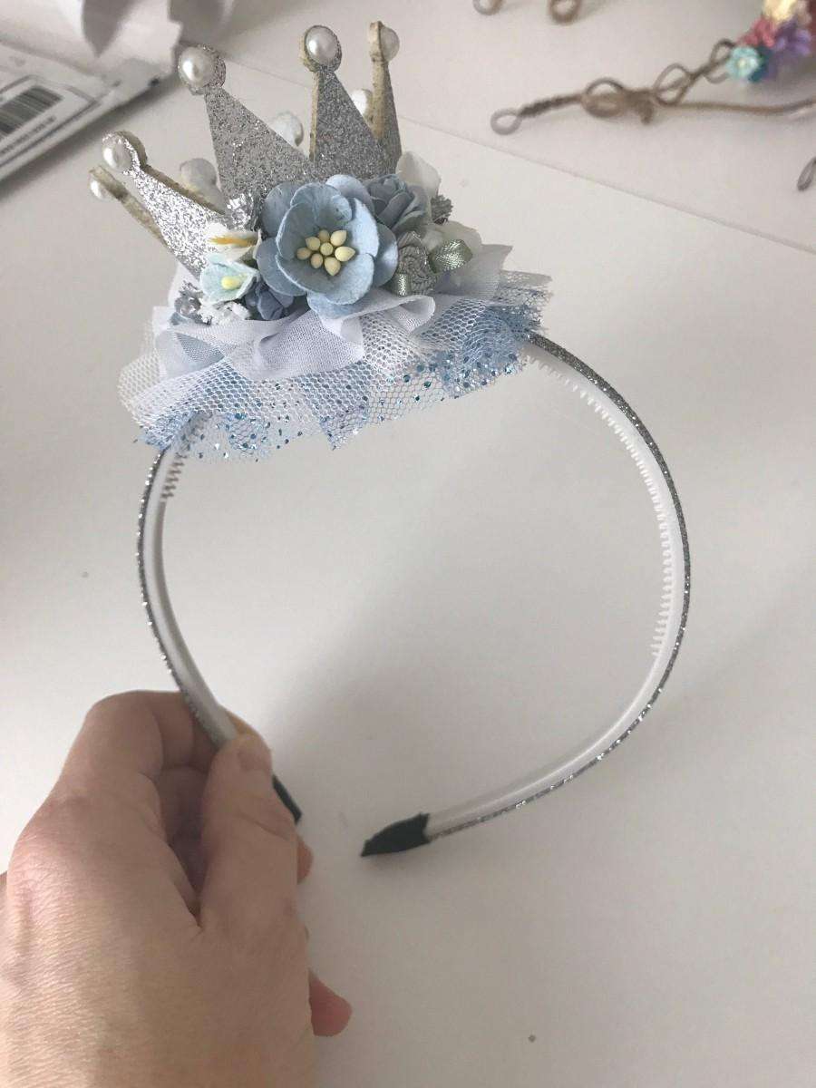 Wedding - Silver Crown headband- Cinderella crown headband- Crown Birthday headband- Birthday Headband- Sparkle Birthday Crown headband- Baby Girl