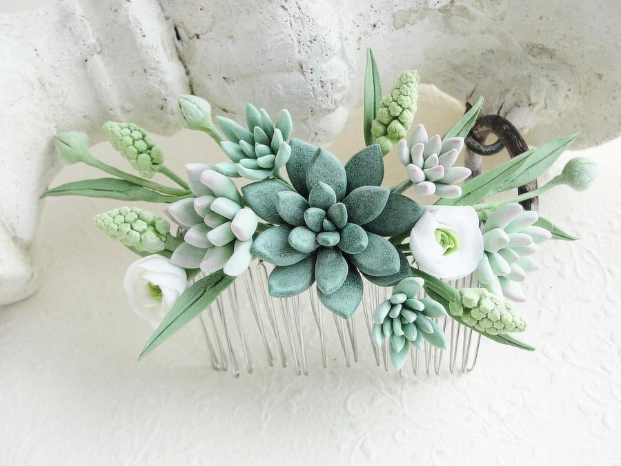 Wedding - Green Succulent Comb Plants Arrangement Succulent Jewelry Wedding Birthday Wedding Bridal Bithday Gifts Succulent Style Succulent gift