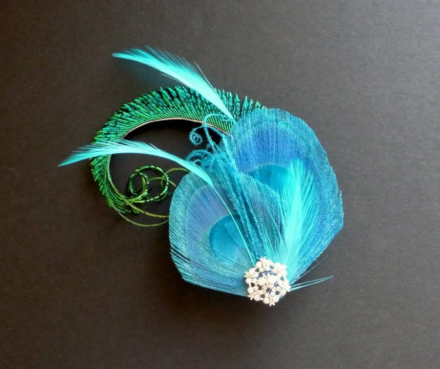 Wedding - Turquoise Blue Green Peacock Feather Hair Clip Fascinator Crystal Wedding Bridal Bridesmaid Hair Accessory 'Evelyn'