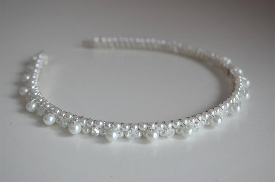 Wedding - White or ivory pearl headband/bridal headband/bridesmaid headband/wedding hairband/tiara/pearl/crystal/bridal hairpiece/wedding headpiece