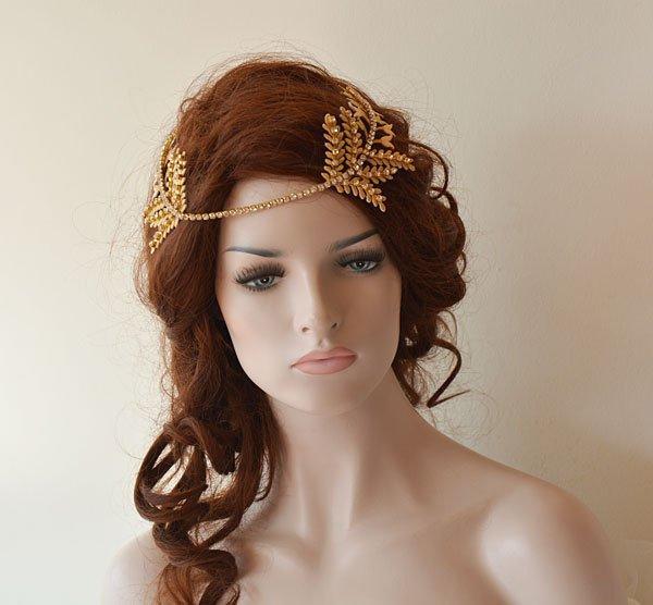 Wedding - Gold Leaf Hair Vine, Bridal Hair Piece, Headpiece gold, Crystal Wedding headband, Bridal Hair Halo,  Wedding Hair Accessories For Bride