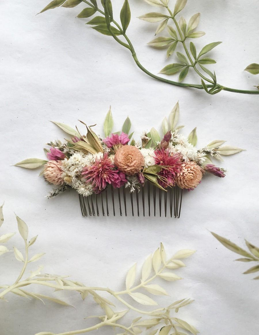 Wedding - Hair Comb // Pink Dream // Dried Flowers