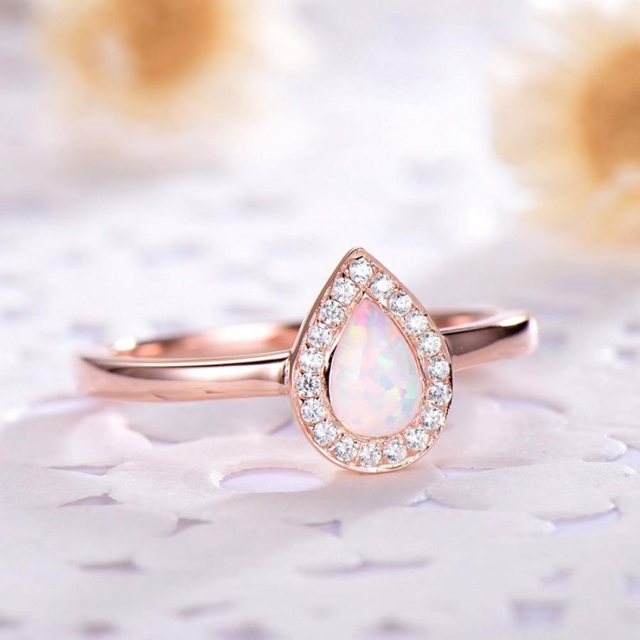 Hochzeit - Pear Shaped Opal Engagement Ring CZ Diamond Halo 14k 18k Rose Gold 925 Sterling Silver Women Wedding Ring Minimalist Anniversary Gift Bridal
