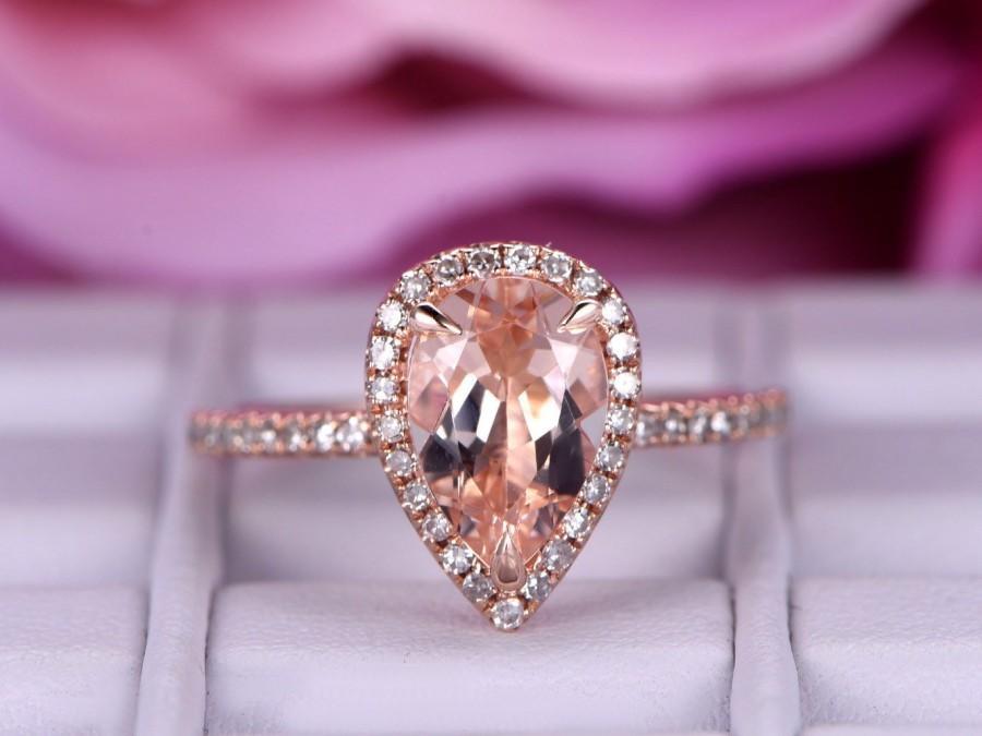 Wedding - 6x9mm Morganite Engagement ring/in 14k rose gold diamond band/Halo Stacking ring/Art deco wedding ring/Pear shaped morganite ring/Pave set