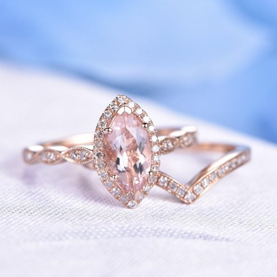Wedding - Morganite Ring Set Pink Morganite Engagement Ring 10x5mm Marquise Cut Stone V Shape Diamond Wedding Band 14k Rose Gold Wedding Ring Set