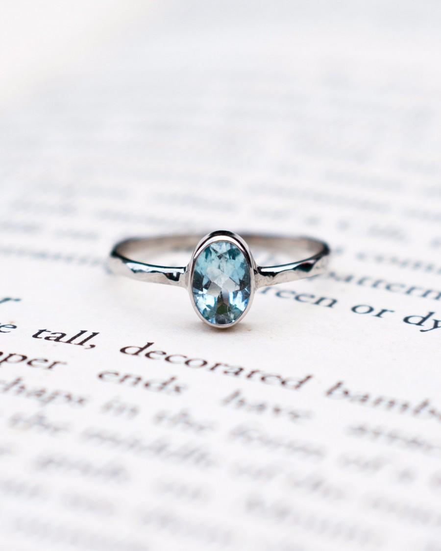 Hochzeit - Aquamarine engagement ring, March Birthstone sterling silver ring, round cut blue crystal, delicate anniversary ring