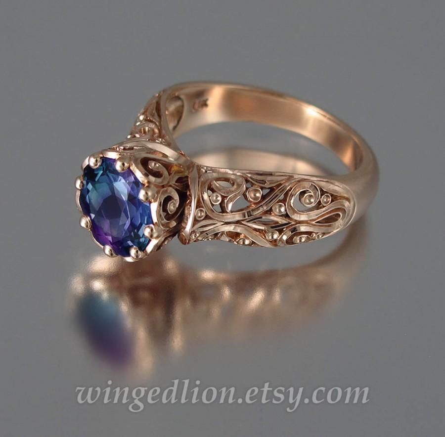 Hochzeit - The ENCHANTED PRINCESS 14k rose gold Alexandrite engagement ring