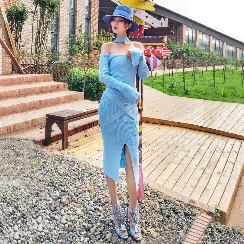 Wedding - Split Attractive Halter Bateau It Girl 9/10 Sleeves Mid-length Skirt Dress - Bonny YZOZO Boutique Store