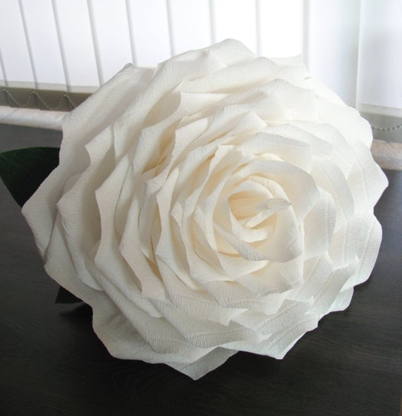 "Wedding - 1 Giant 15"" white paper rose, Bridal bouquet white, Giant paper flower, Large rose, Birthday decor, Wedding decor big rose, Centerpiece rose"