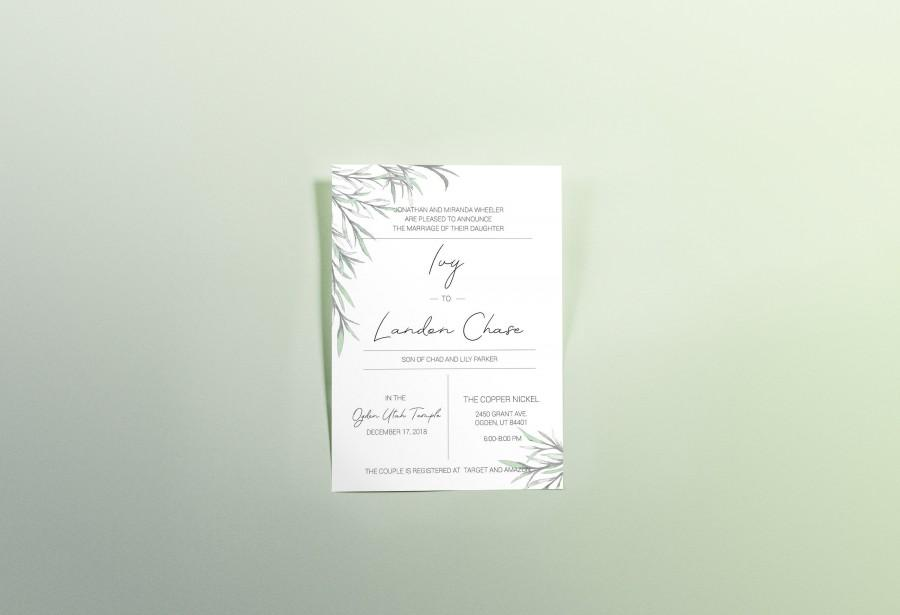 Mariage - Elegant Modern Wedding Invitation with Greenery Watercolor