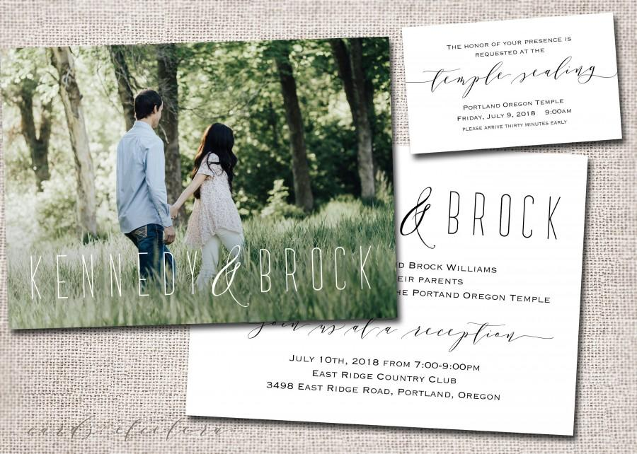 Wedding - Wedding Invitation, Photo wedding invitation, wedding invites, photo wedding invitations, temple wedding: PRINTABLE-Kennedy & Brock