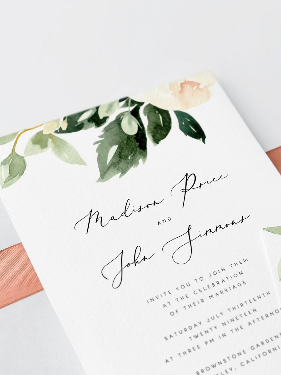 Hochzeit - Blush Floral Wedding Invitation Template Pink Flowers Wedding Invitation Printable Wedding Invites Editable on Templett Modern 01