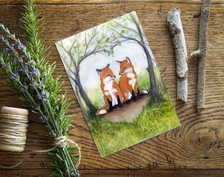 """Hochzeit - Fox anniversary card - 5""""x7"""" eco friendly card - Cute woodland animal card -  animal watercolor art - Two red foxes in heart greeting"""