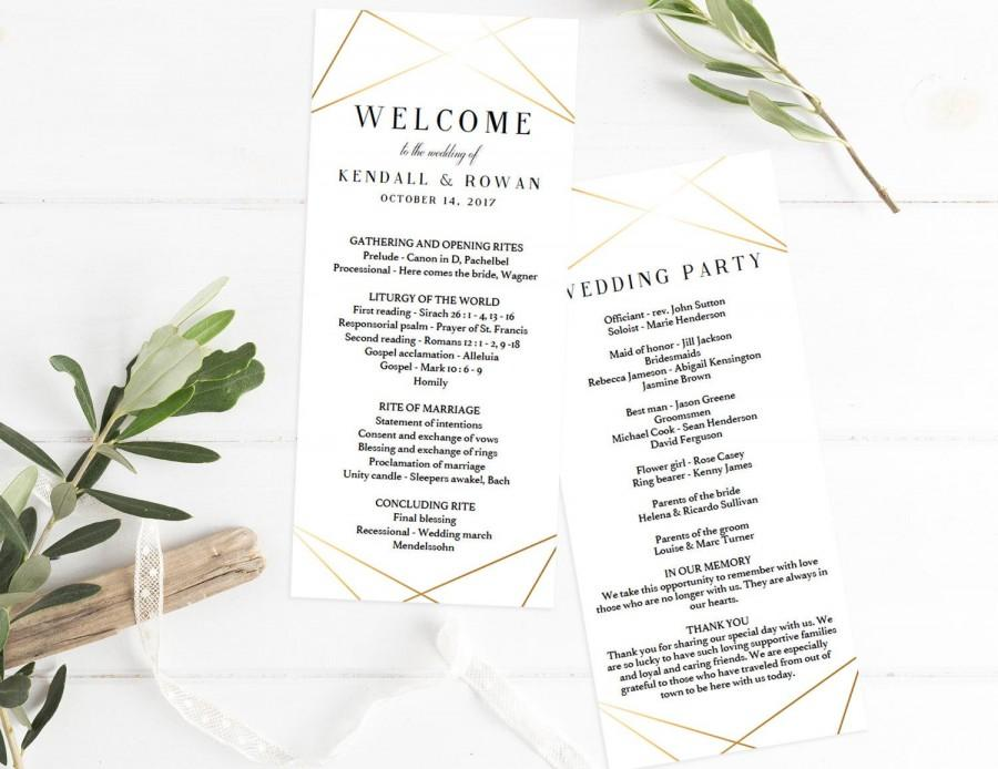 Hochzeit - Gold Geometric Wedding Programs Template Download Wedding Ceremony Program Template Modern Wedding Program Templates Programs Wedding GL1
