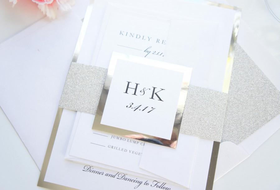Mariage - Modern Wedding Invitations, Silver Glitter Wedding Invitation, Printed Wedding Invitations, Wedding Invitation Set - Deposit