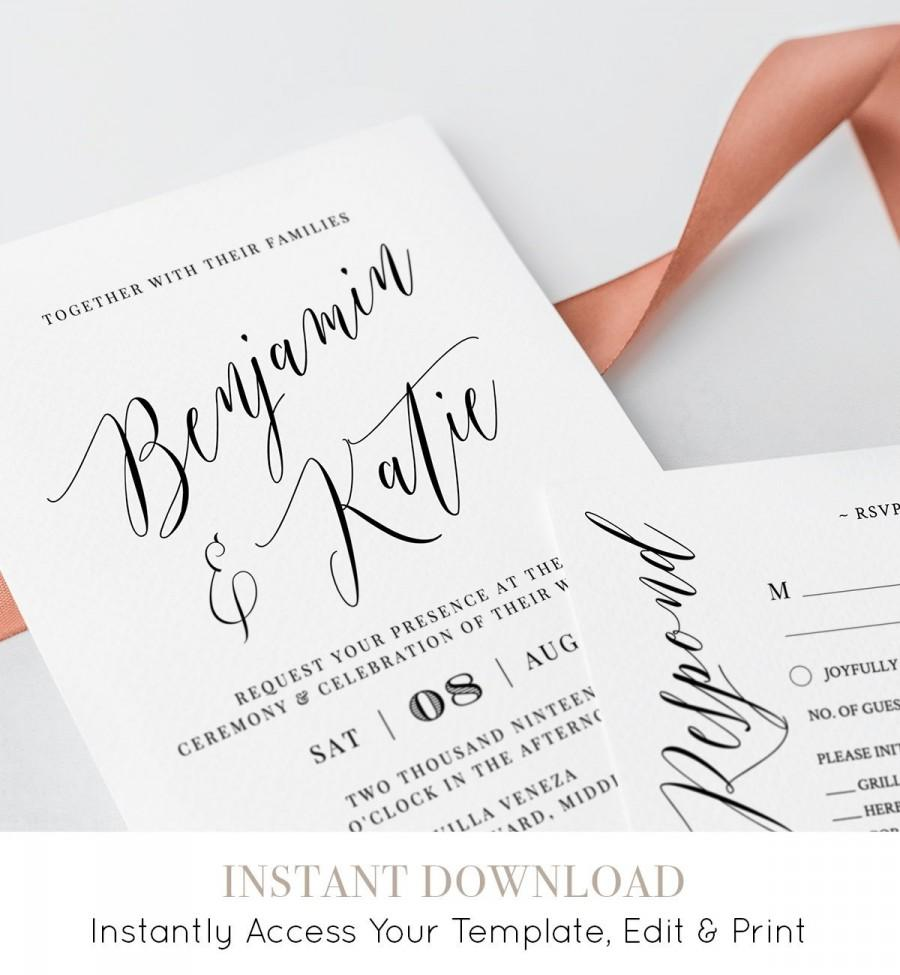 Mariage - Printable Wedding Invitation Suite, 100% Editable Template, INSTANT DOWNLOAD, Invite, RSVP, Details Card, Simple & Modern, Templett #038