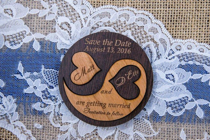 Mariage - Wooden save the date magnets, Custom save the date magnet rustic, simple save the date woodland invitation yin yang