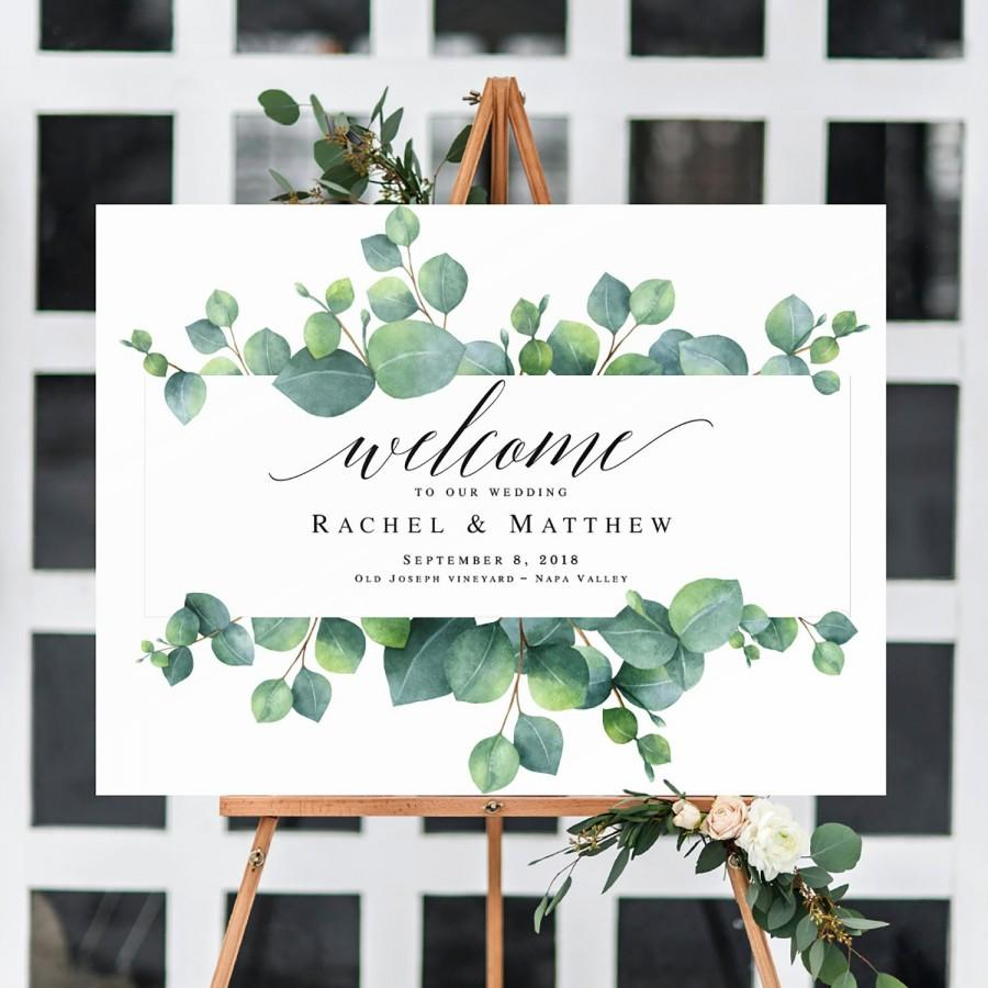 picture about Welcome Sign Template called Eucalyptus Wedding day Welcome Signal Greenery Template Welcome
