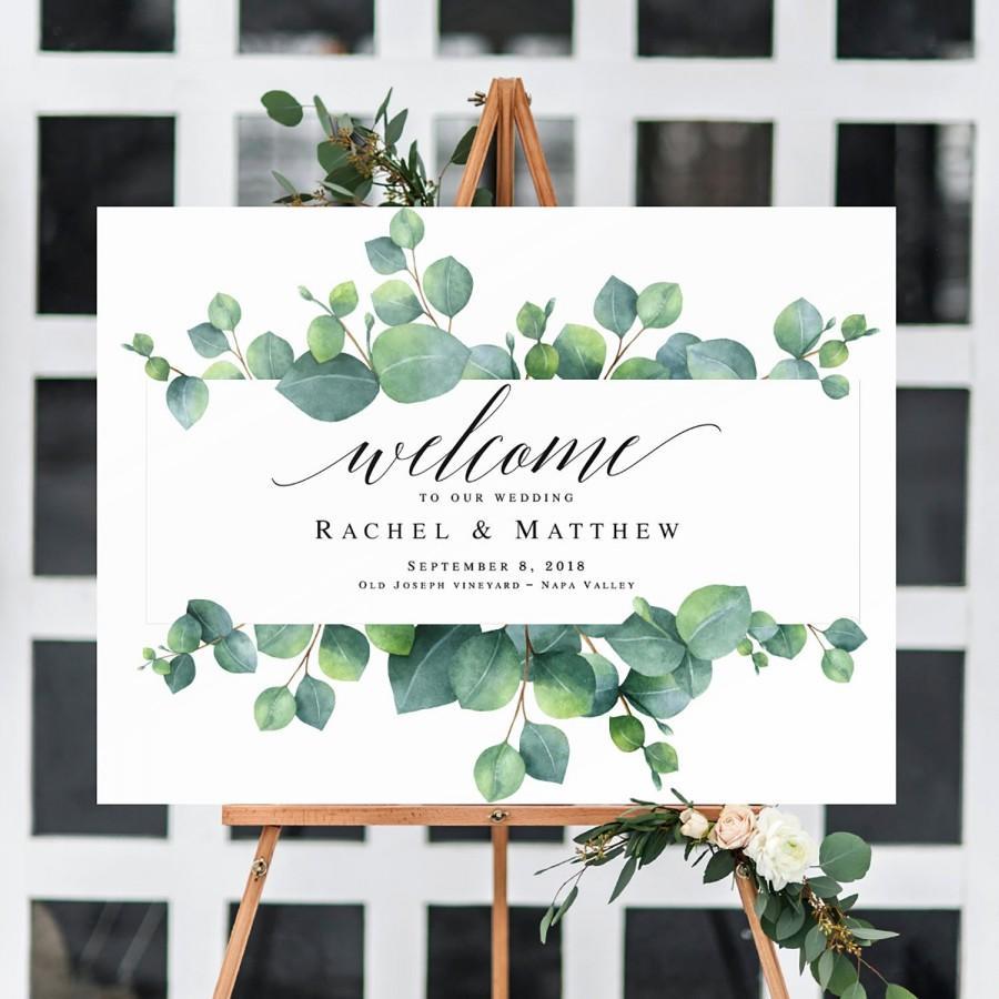 Mariage - Eucalyptus wedding welcome sign Greenery template Welcome template Horizontal welcome sign wedding Greenery welcome sign for wedding #vm151
