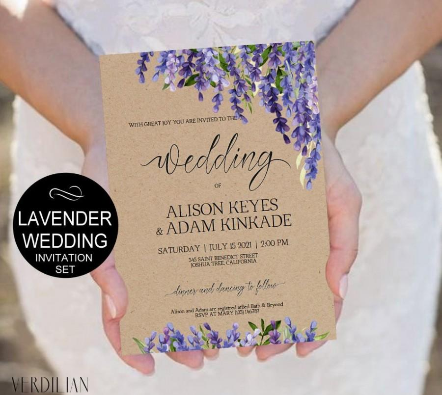 Hochzeit - Lavender Wedding Invitation Template Set-Purple Flowers Watercolor Kraft Invite-DIY Printable Invitations-PDF-Download Instantly