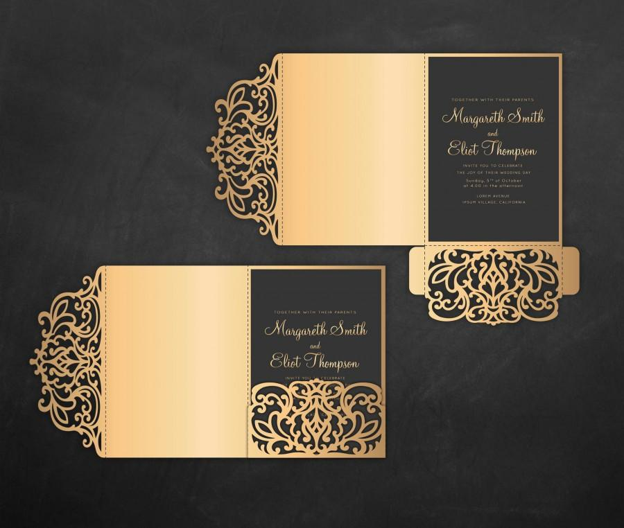 Hochzeit - Tri Fold pocket envelope 5x7 Wedding Invitation DXF SVG EPS Template, pocketfold laser cut file, Silhouette Cameo & Cricut cutting machines