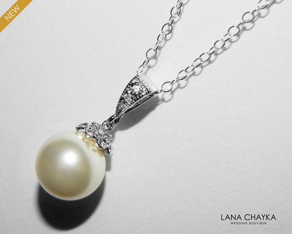 Свадьба - Pearl Bridal Necklace, Swarovski 10mm Ivory Pearl Silver Necklace, Single Pearl Wedding Necklace, Bridal Pearl Jewelry, Pearl Drop Necklace