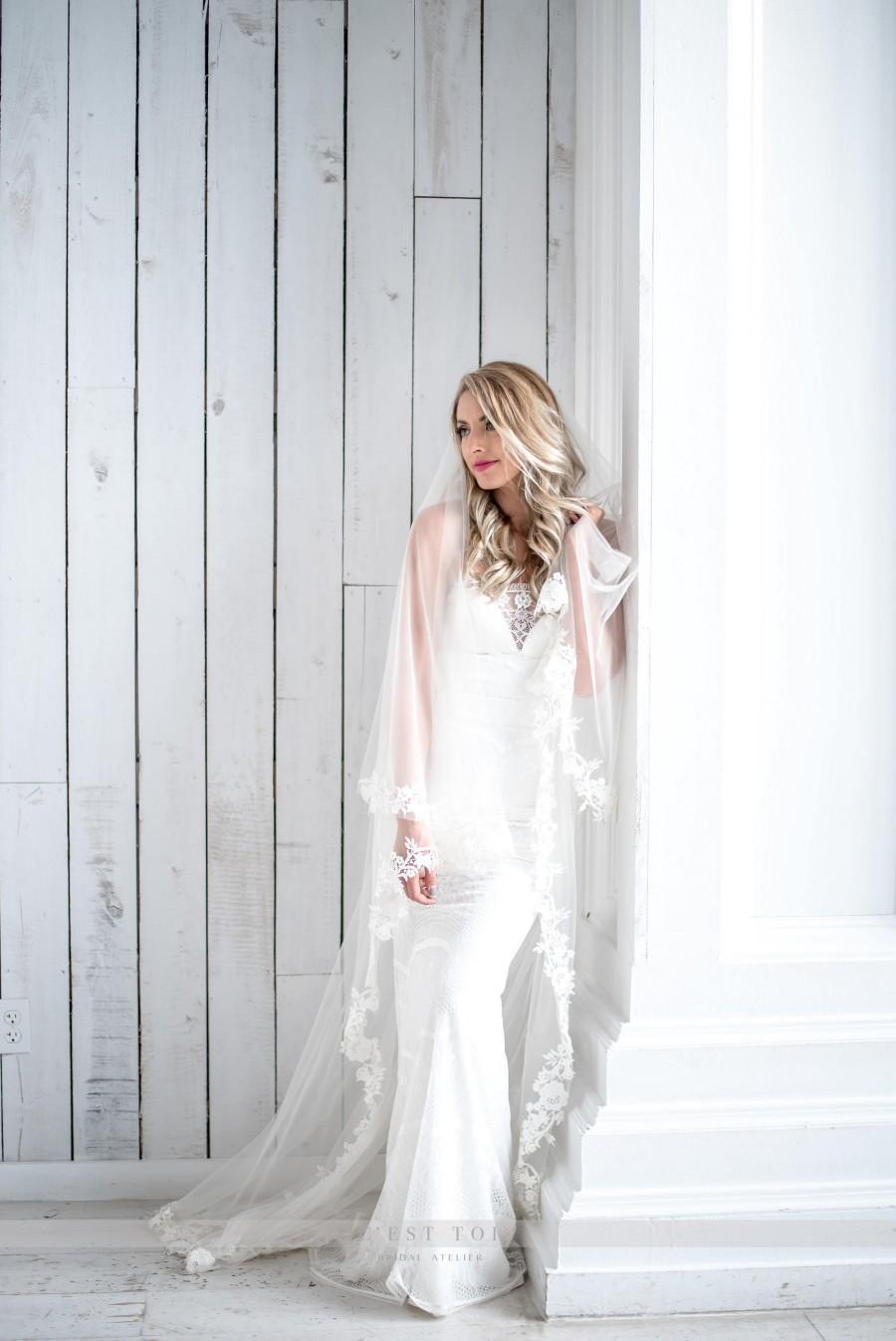 Mariage - V01, Drop Lace Veil, Drop Lace Bridal Veil, Drop Veil, Bridal Veil, Lace Veil, Wedding Veil, Wedding Lace Veils, Cascading Veil