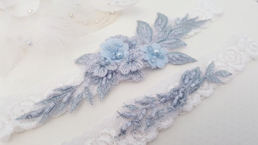Hochzeit - Wedding Garter, Lace Wedding Garter Set, Bridal garter set, Blue Garter, Something Blue