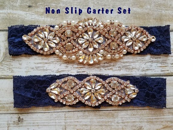 Mariage - Sale -Wedding Garter and Toss Garter-Crystal Rhinestone with Rose Gold Details - Navy Blue Lace - Style G20903TRGNV