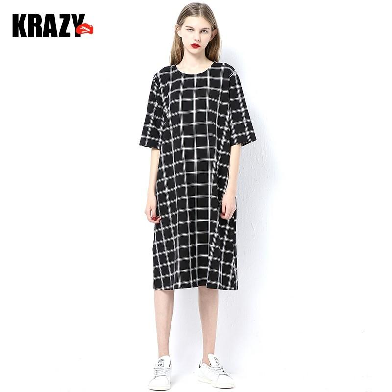 زفاف - Comfortable cotton loose cut chequered dress with long sleeves in summer 7536 - Bonny YZOZO Boutique Store