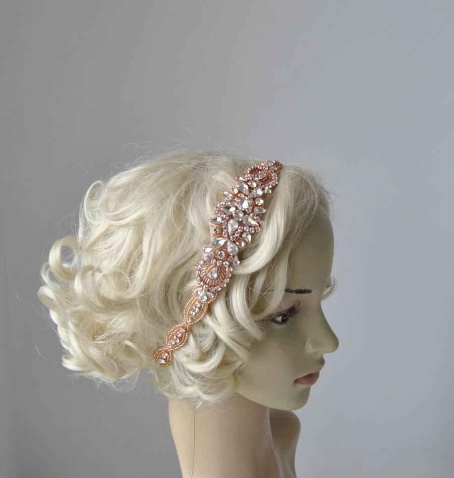 Wedding - Long Rose Gold  Bridal Headband Crystal Rhinestone Wedding Headband Headpiece Rose Gold Bridal Flapper 1920s Great Gatsby Headband Headpiece