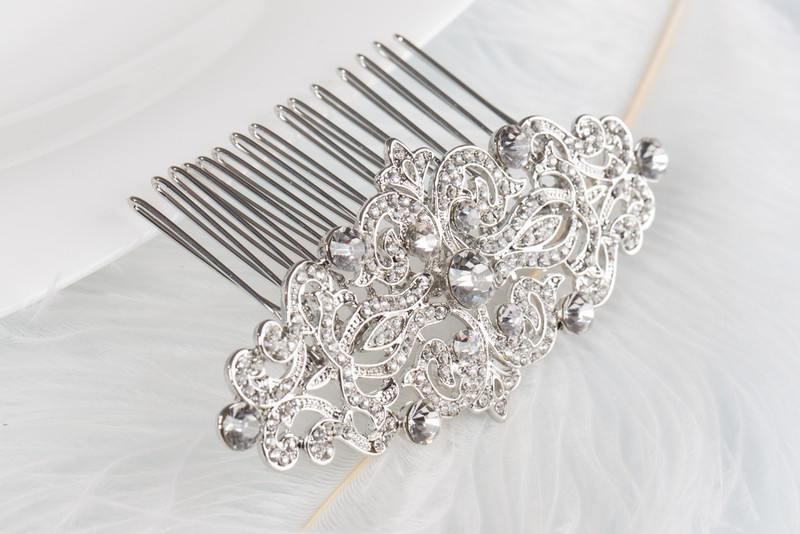 Wedding - CHRISTINA Crystal Bridal Art Deco Hair Comb 1920s, Great Gatsby Vintage Inspired Hairpiece Bridal Hair Accessory Headpiece Crystal Hair Comb