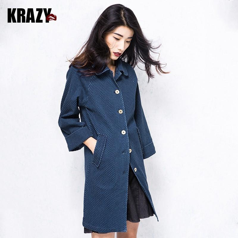 Свадьба - Vintage elegant fall 2017 new dot nine Sleeve Denim trench coat Jacket Women 7992 - Bonny YZOZO Boutique Store