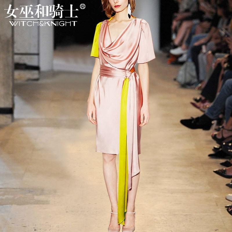 Свадьба - Vogue Slimming V-neck Mulberry Silk Summer Silk Midi Dress Dress - Bonny YZOZO Boutique Store