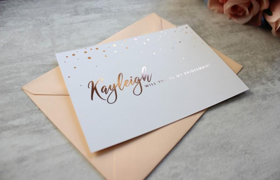 Hochzeit - Bridesmaid Proposal Postcard- Will You Be My Bridesmaid - Maid of Honour Card - Chief Bridesmaid Card - Rose Gold - Silver - Gold