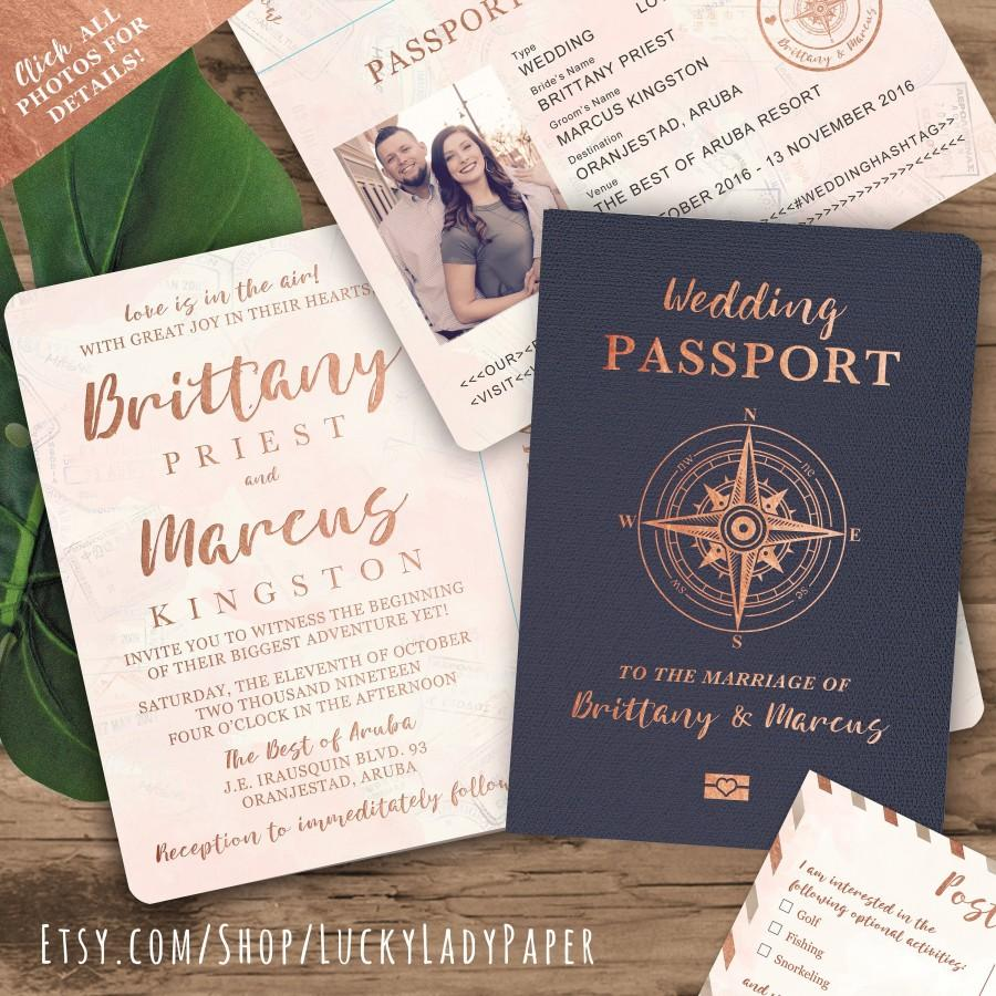 Hochzeit - Destination Wedding Passport Invitation Set in Rose Gold and Blush Watercolor Compass Design by Luckyladypaper - see item details to order