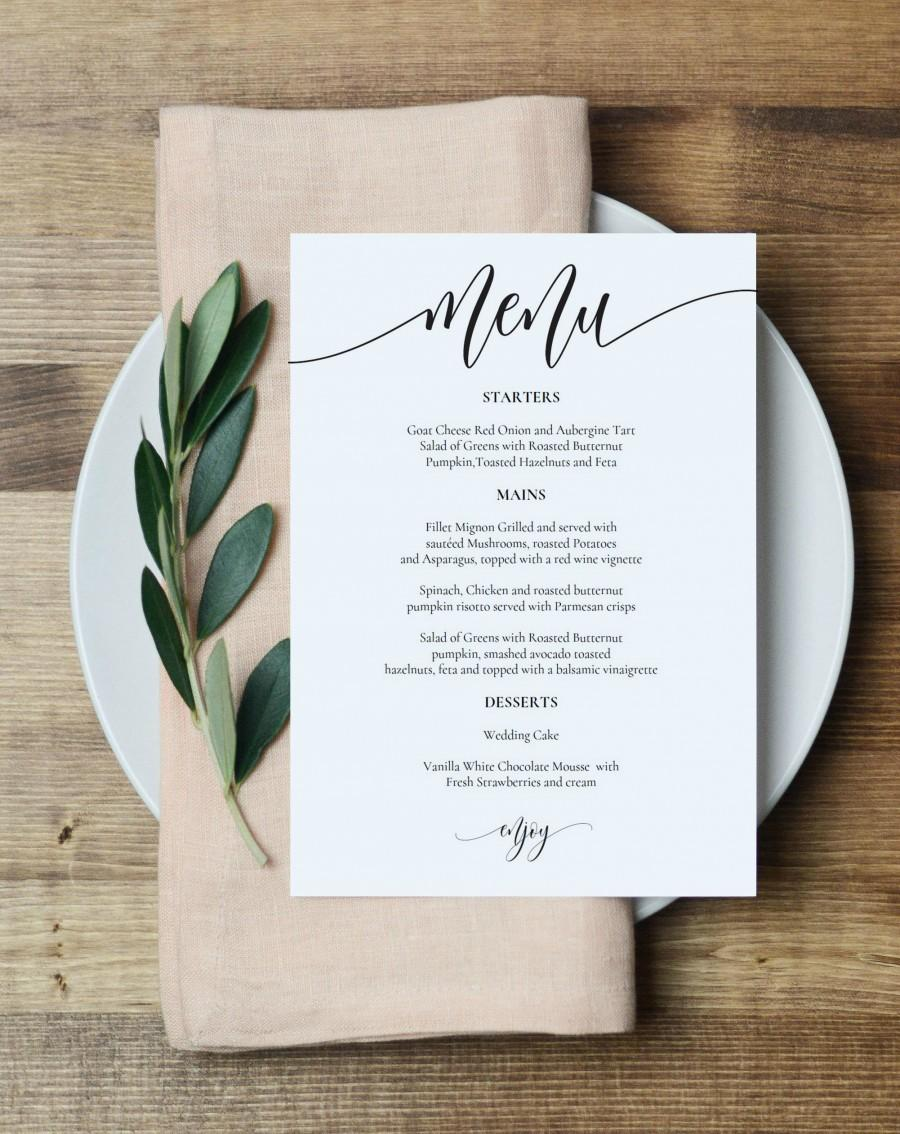 "Hochzeit - Wedding Menu Template, Printable Menu Card, 5x7"" Wedding Menu Printable, Instant Download, Editable PDF, Edit Youself, WLP836"