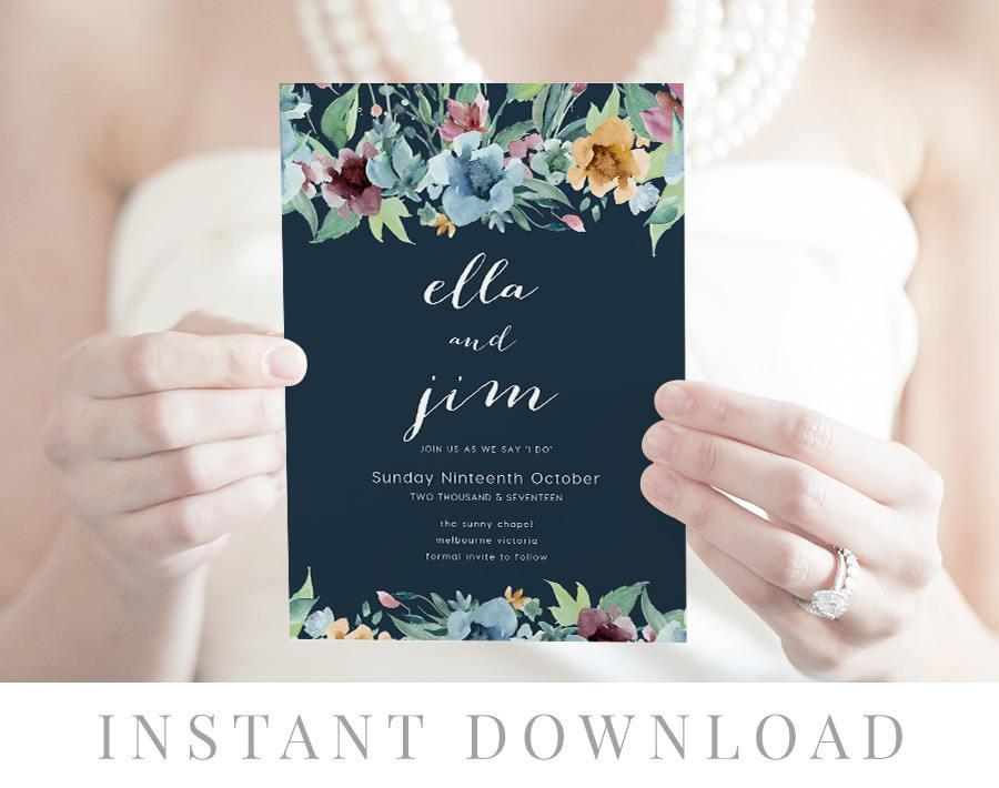 Wedding - Navy Wedding Invitation INSTANT DOWNLOAD, Wedding Invite, DIY Printable Invitation, Templett, Editable pdf, Rustic Invites, Blue, Pepper