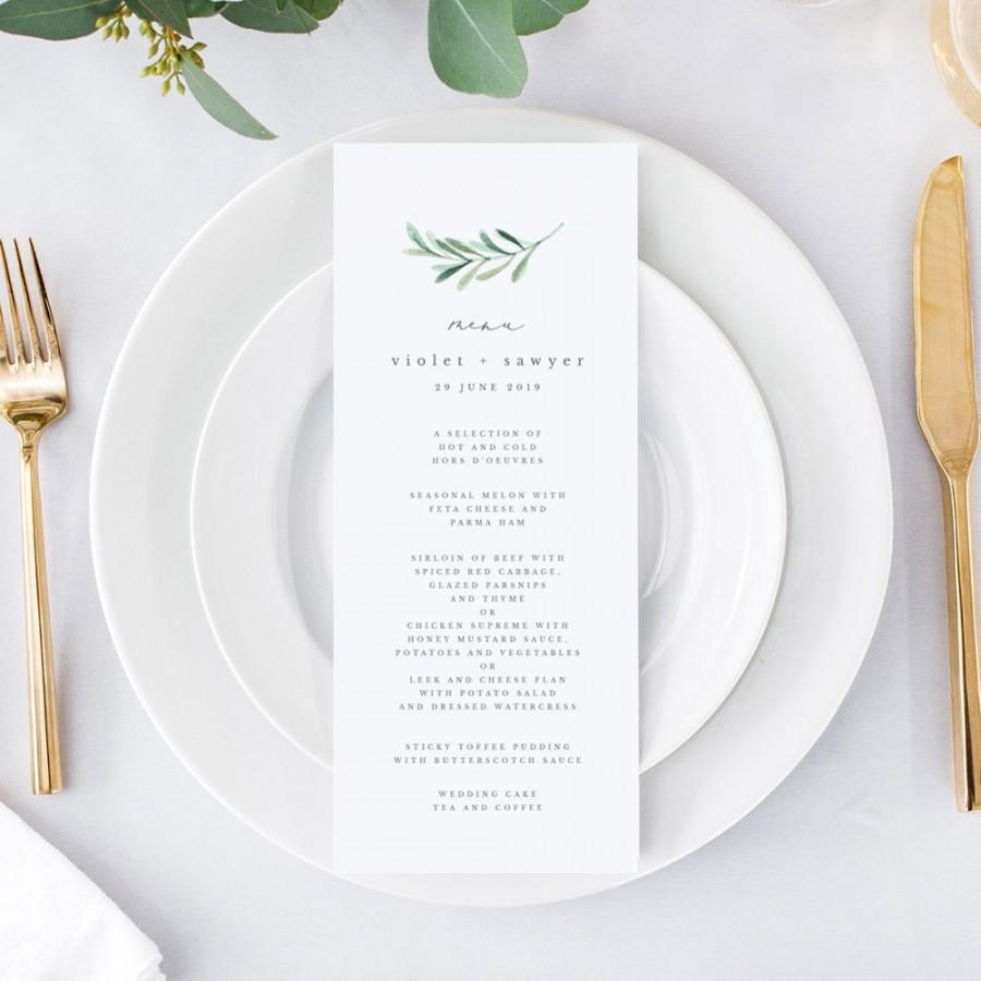 Mariage - Greenery Wedding Menu Template, Printable Wedding Menu Template, Tea Length Wedding Menu Card, Greenery Menu, EDIT in TEMPLETT, Violet