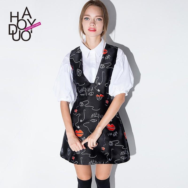 Свадьба - Autumn new sweet sundresses for fun lipstick stained deep v neck sleeveless dress women - Bonny YZOZO Boutique Store