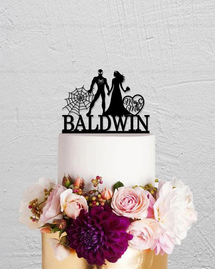 Mariage - Wedding Cake Topper,Spiderman Cake Topper,Bride And Groom Cake Topper, Mr Mrs Cake Topper,Custom Cake Topper,Wedding Decoration