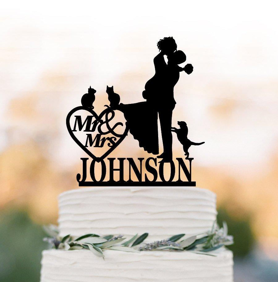 Wedding - Custom Wedding Cake topper mr and mrs, Cake Toppers with dog, bride and groom silhouette, cake toppers with cat, 2 cats cake topper