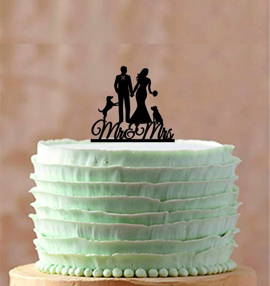 Mariage - Unique Wedding Cake Topper,Silhouette Custom Wedding Cake topper, Personalized wedding cake topper, Funny wedding cake topper a two dog