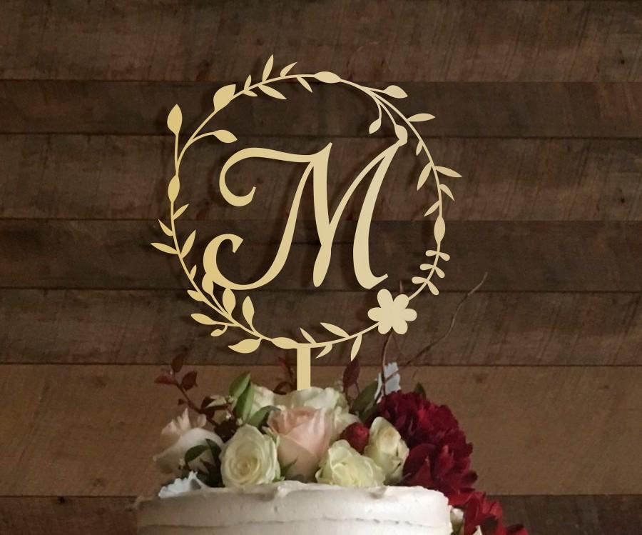 Hochzeit - m cake topper, wedding cake topper, cake toppers for wedding, rustic wedding cake topper, initial cake topper, monogram cake topper m, #004