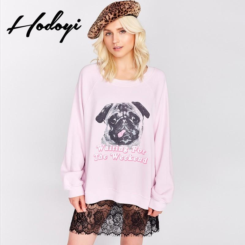 Mariage - Fall 2017 new ladies ' dog print fashion leisure loose long sleeve sweater women - Bonny YZOZO Boutique Store